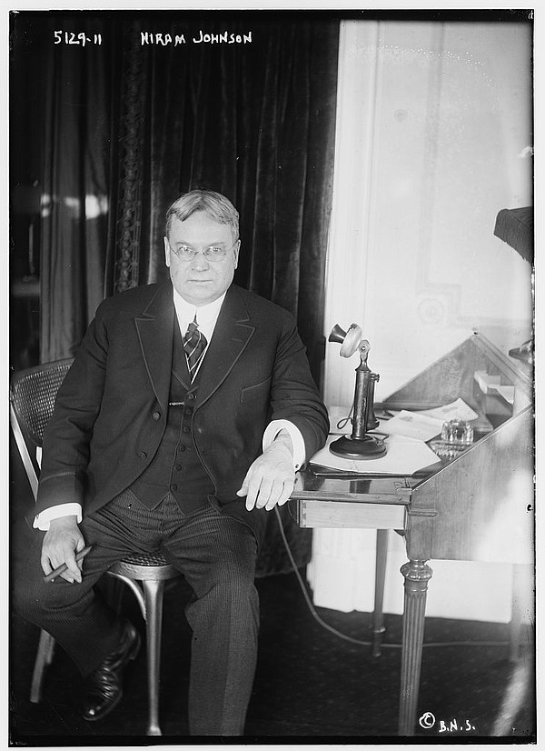 Hiram Johnson, who served a governor of California betwee...