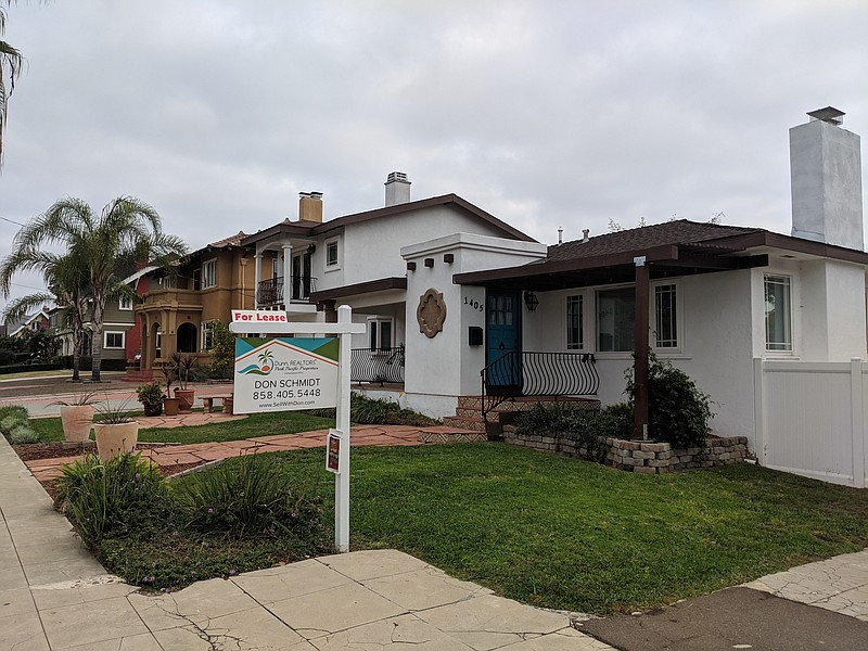 A house for lease in San Diego, Oct. 29, 2018.