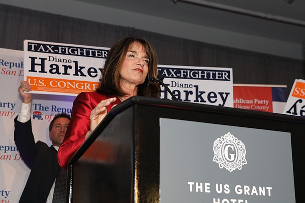 Republican Diane Harkey speaks at a podium at The US Gran...