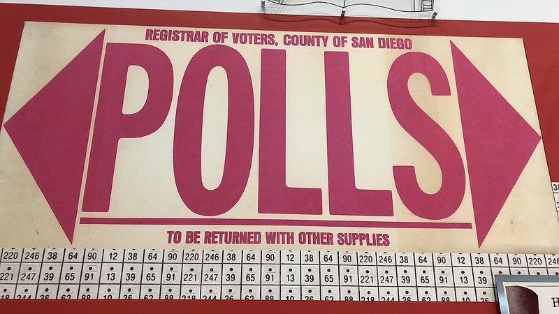 A polling sign at the San Diego County Registrar of Voters, Nov. 6, 2018.