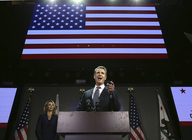 Lt. Gov. Gavin Newsom addresses the crowd at an election night party in Los A...