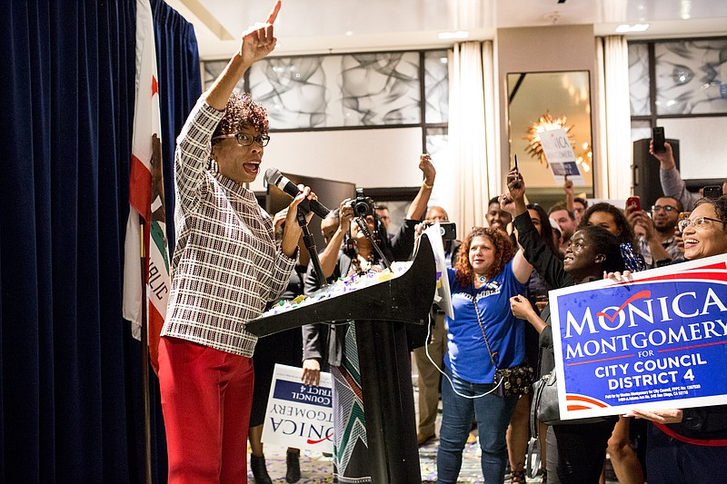 Democrat Monica Montgomery speaks to her supporters at the Hotel Republic in ...