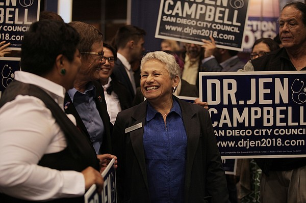 Democrat Jennifer Campbell, who won a seat on the San Die...