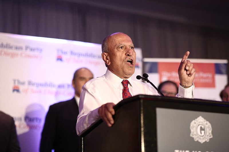 Escondido incumbent Mayor Sam Abed speaks at the podium at The U.S. Grant Hot...