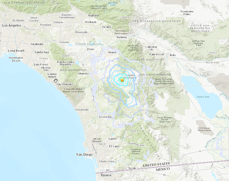 The epicenter of an earthquake is shown in this graphic, Nov. 9, 2018.