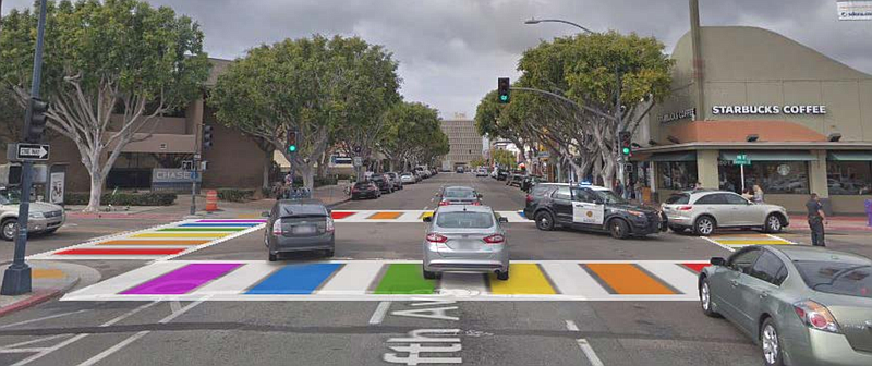 A screenshot of a rendering of a rainbow crosswalk in Hillcrest from an Octob...