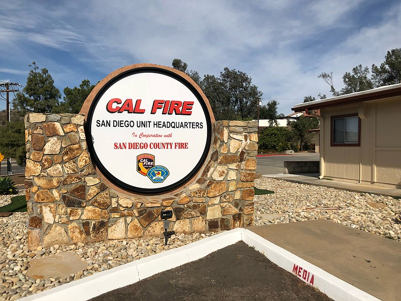 The sign for the Cal Fire San Diego Unit Headquarters in El Cajon, Nov. 13, 2...