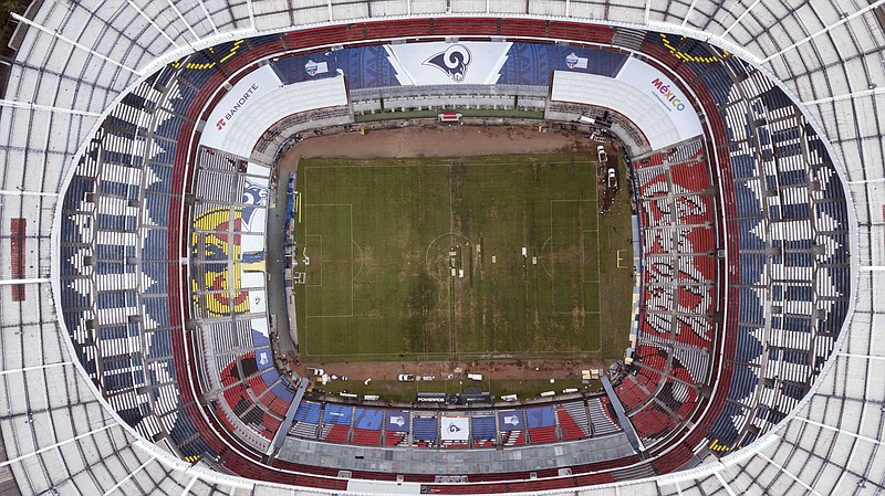 Mexico's Azteca Stadium is seen from above in Mexico City, Tuesday, Nov. 13, ...