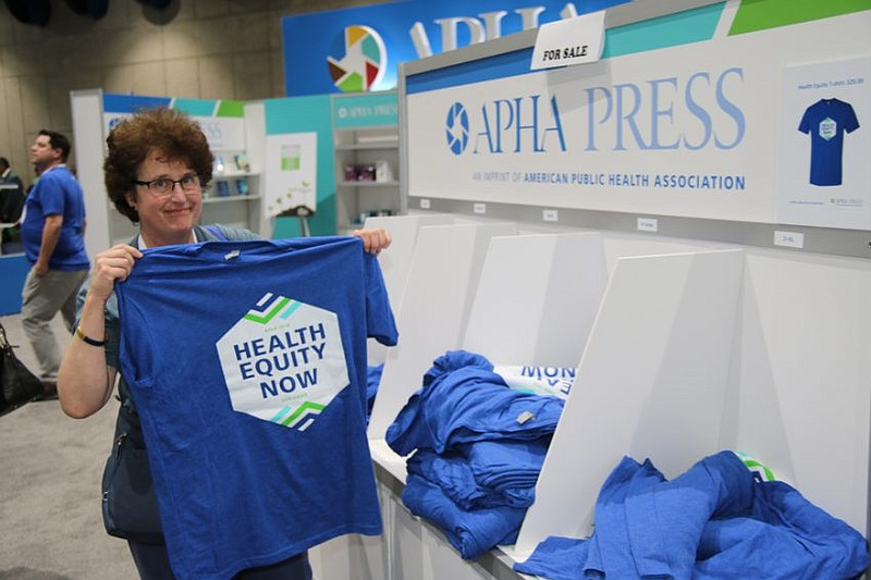 An attendee at the 2018 American Public Health Association conference in San ...