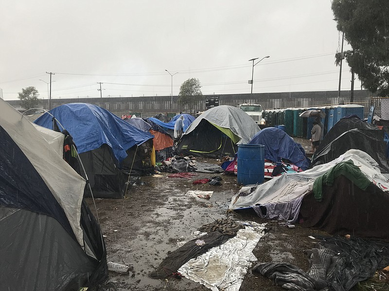 Rain pouring on a migrant camp in Tijuana, Nov. 29, 2018.