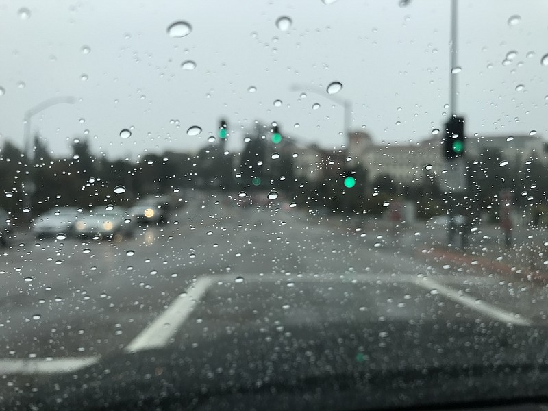 Raindrops on a windshield near San Diego State University, Nov. 29, 2018.