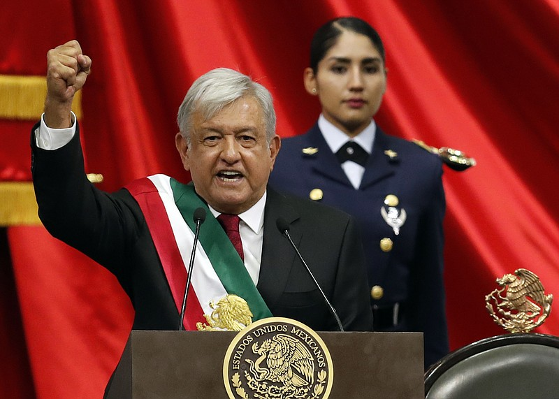 Mexico's new President Andres Manuel Lopez Obrador speaks during his inaugura...