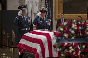 Photo for Nation Bids Goodbye To Bush With High Praise, Cannons, Humor