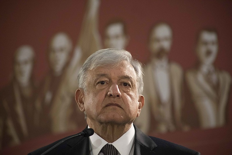 Mexico's President Andres Manuel Lopez Obrador holds his first news conferenc...