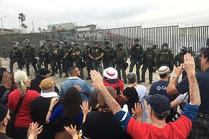 Border Patrol Handcuffs Demonstrators Supporting Migrants