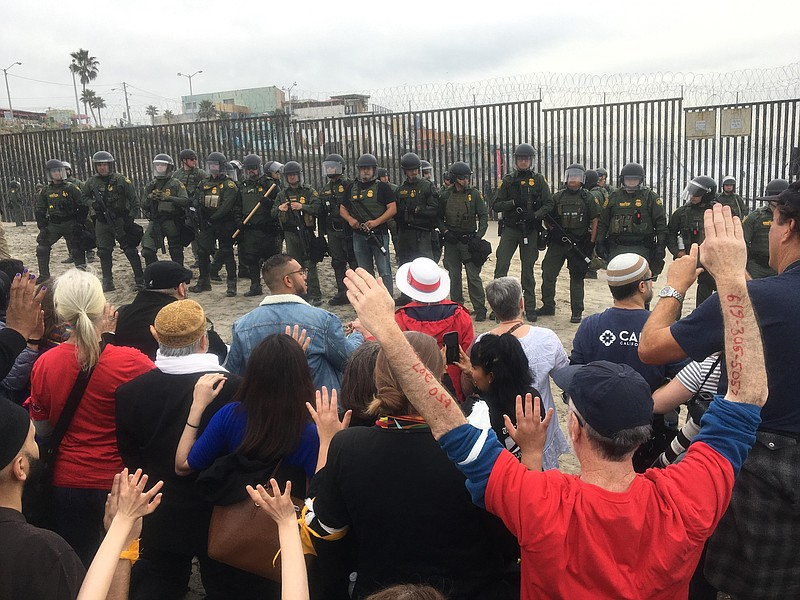 Demonstrators calling for the end of the detention and deportation of immigra...
