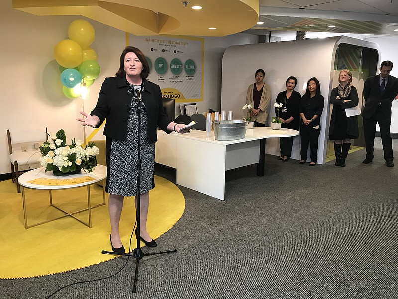 Toni Atkins speaks at UC San Diego's newly remodeled AntiViral Research Cente...