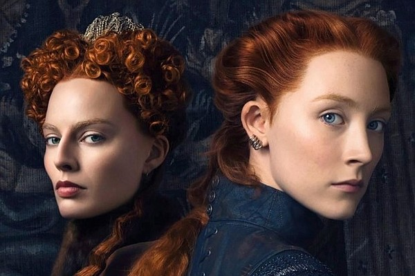 Margot Robbie as Elizabeth I and Saoirse Ronan as Mary St...