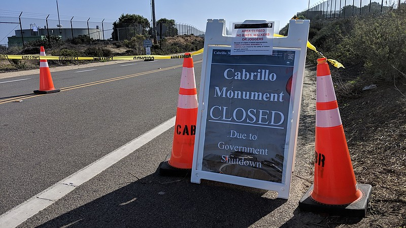 A closed sign at the Cabrillo National Monument, Dec. 24, 2018.