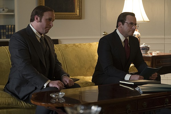 Dick Cheney (Christian Bale) with Donald Rumsfeld (Steve ...