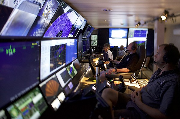 Control room while everyone is working on research vessel...