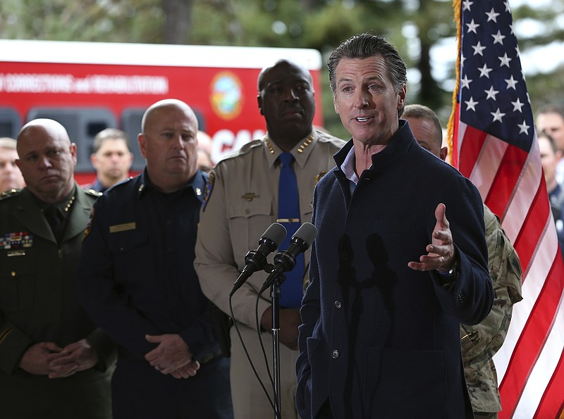 Gov. Gavin Newsom discusses emergency preparedness during a visit to the Cali...