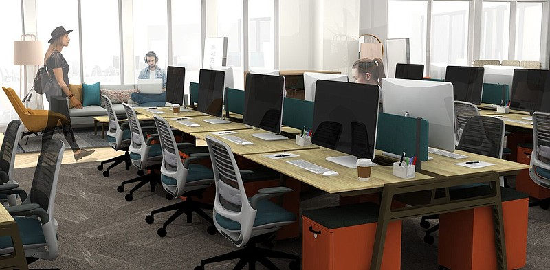 A rendering of the co-working space of CONNECT ALL @ the Jacobs Center.