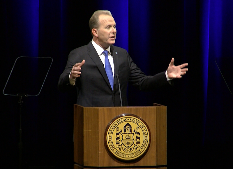 San Diego Mayor Kevin Faulconer gestures during his fifth State of the City a...