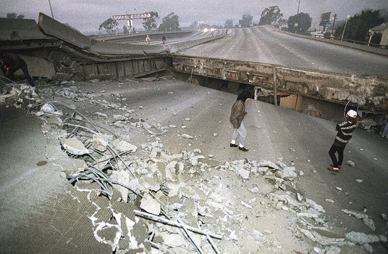 In this Jan. 17, 1994 file photo, Interstate 10, the Santa Monica Freeway, sp...