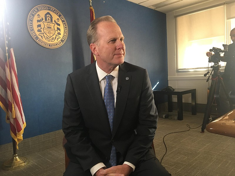 San Diego Mayor Kevin Faulconer during an interview on his new plan to get mo...