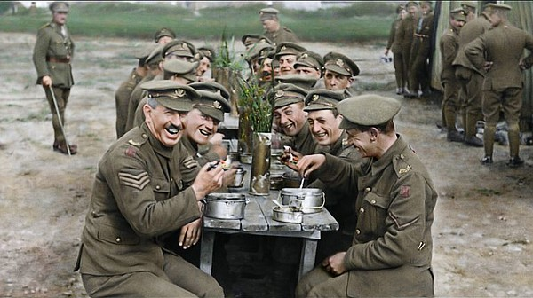 A restored and colorized image of British soldiers at the...