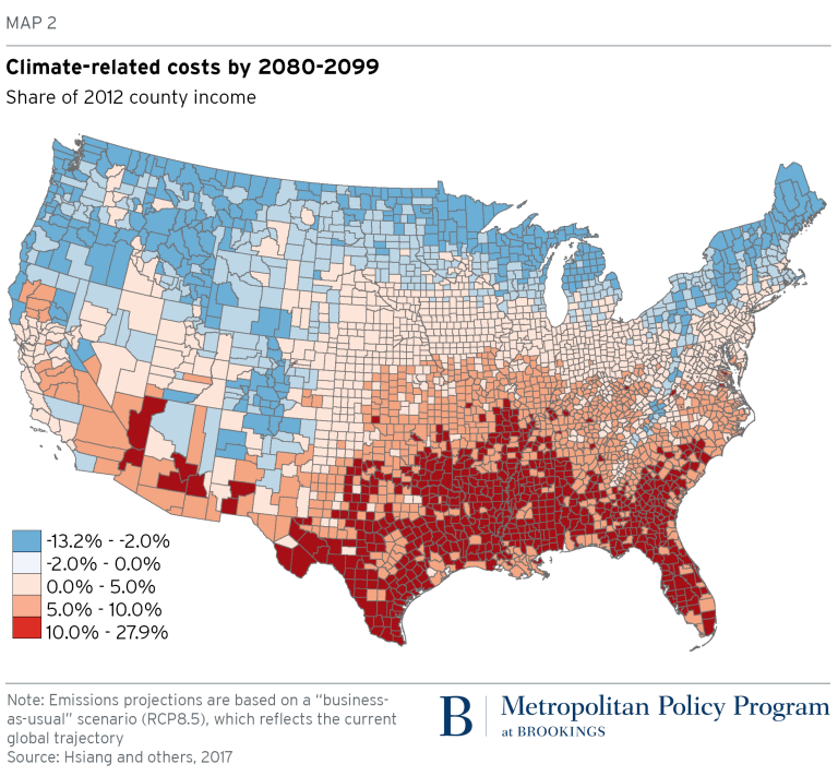 Map of climate relates costs. Feb. 4, 2019.
