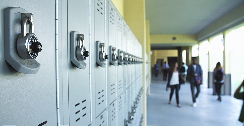 School lockers are shown in this undated still from San Diego Trafficking Pre...