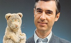 Fred Rogers with Daniel Tiger from his show MR....
