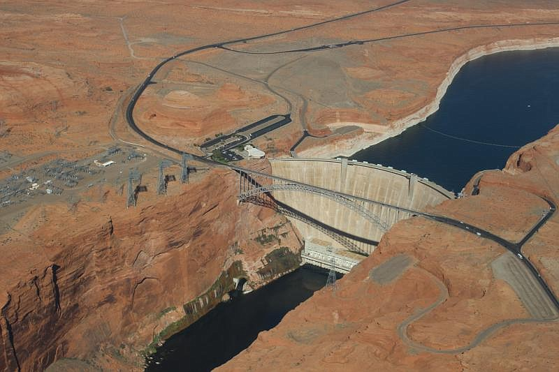 The Glen Canyon Dam in Lake Powell, Arizona is seen in this undated photo.