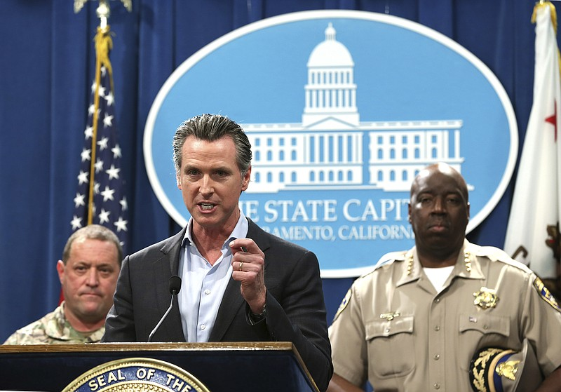California Gov. Gavin Newsom, discusses his decision to withdraw several hund...