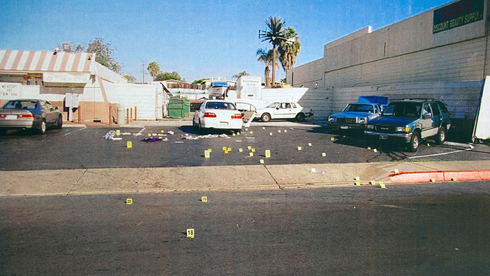 A photo of evidence from the James Carter case showing the parking lot at Dr....