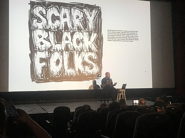 Professor John Jennings at his Scary Black Folks panel at...