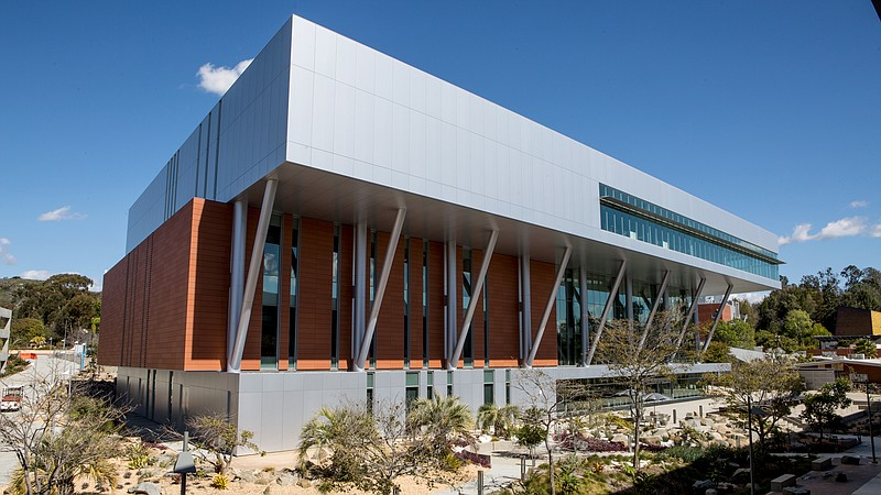 The outside of the $67 million Palomar College Library is shown on Feb. 16, 2...