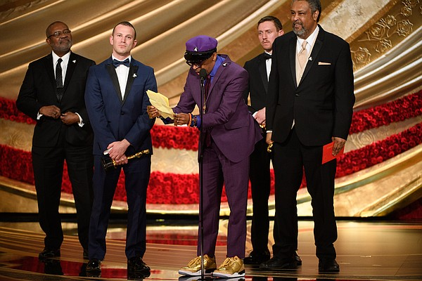 A very thrilled and excited Spike Lee picks up an Oscar f...