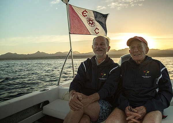 Walter Munk and Giuseppe Notarbartolo in Cabo Pulmo, east...
