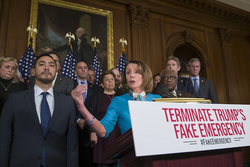 House Speaker Nancy Pelosi of Calif., accompanied by Rep. Joaquin Castro, D-T...