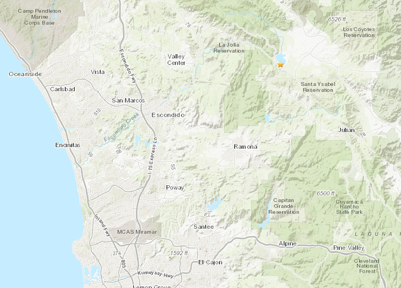 Two small earthquakes struck near Palomar Mountain at 6 a.m., Feb. 26, 2019.