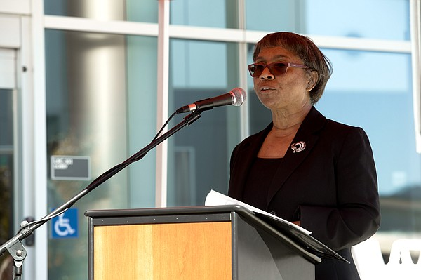 Palomar College President Joi Lin Blake speaks at the gra...