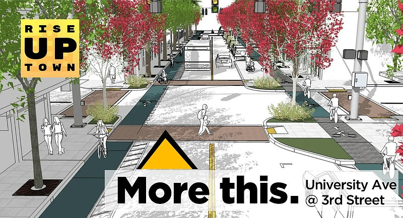 A rendering shows a conceptual redesign of University Avenue in Hillcrest wit...