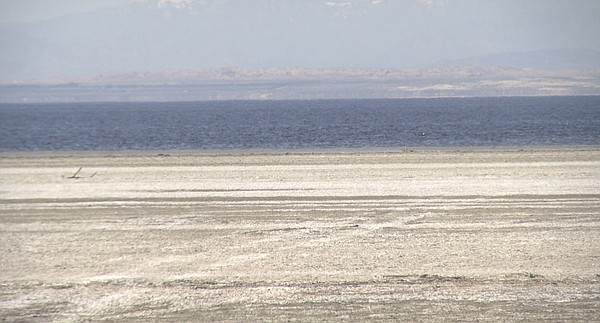 Receding shoreline at the Salton Sea on Feb. 25, 2019.
