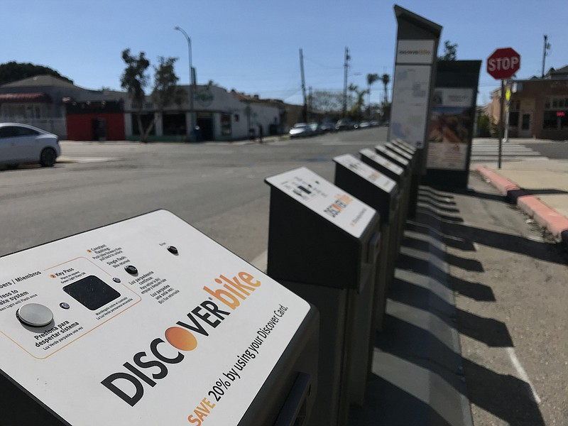 A DiscoverBike docking station in North Park is seen here with no bikes, Marc...