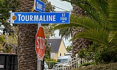 Street signs at Tourmaline and Dawes in Pacific...
