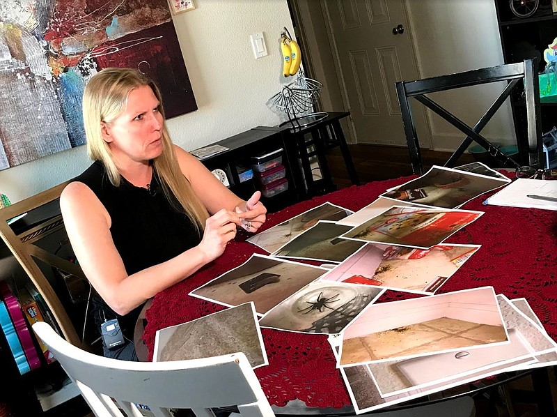 Leslie Tumlinson, who lives on on Marine Corps Base Camp Pendleton, sits at a...