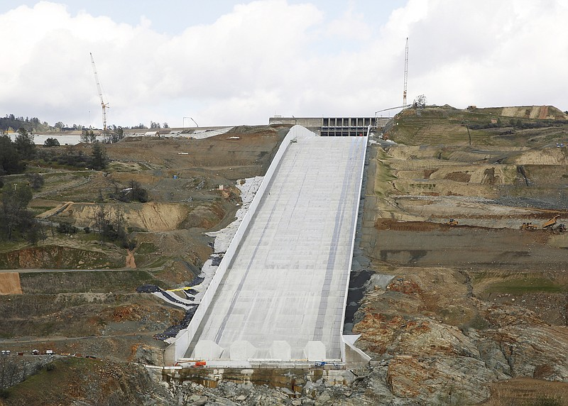 Photo shows the Oroville Dam spillway in Oroville, Calif., Feb. 20, 2019.
